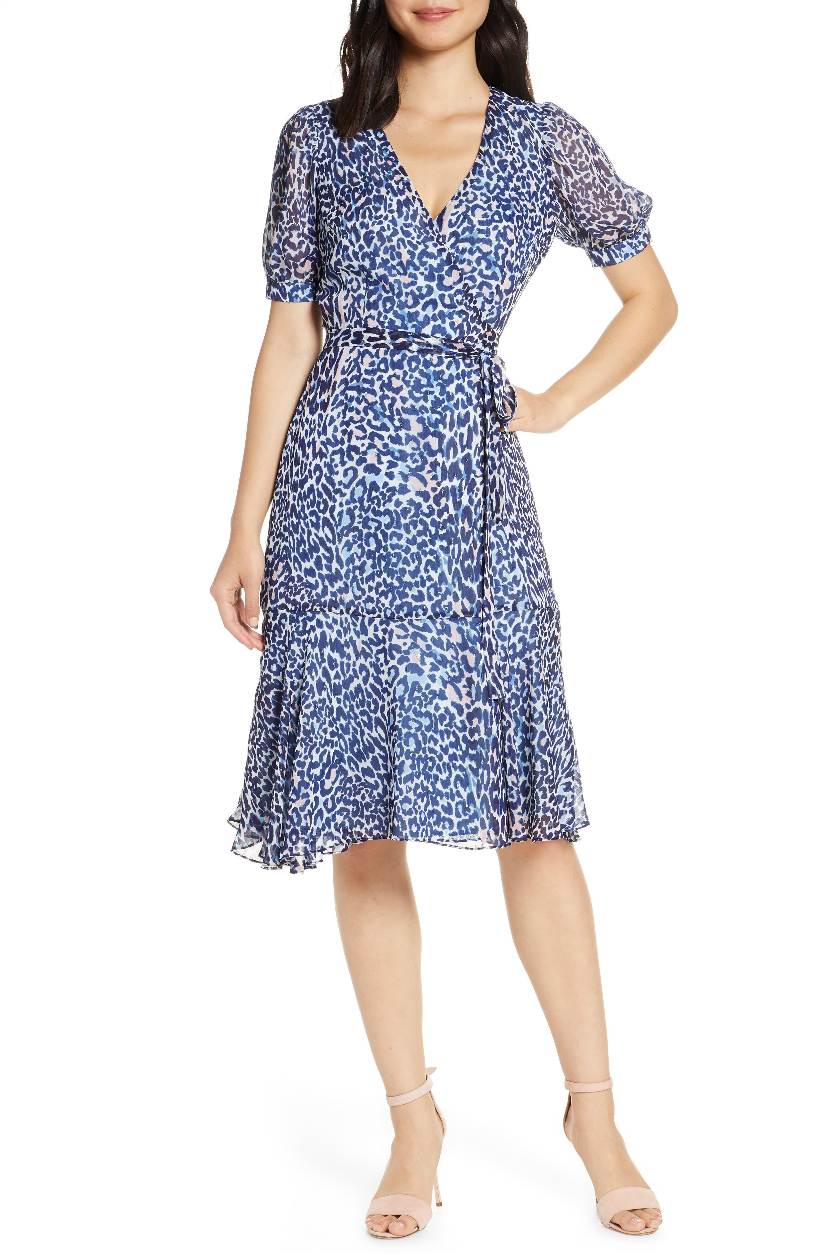 Eliza J Leopard Print Faux Wrap Dress, Blue