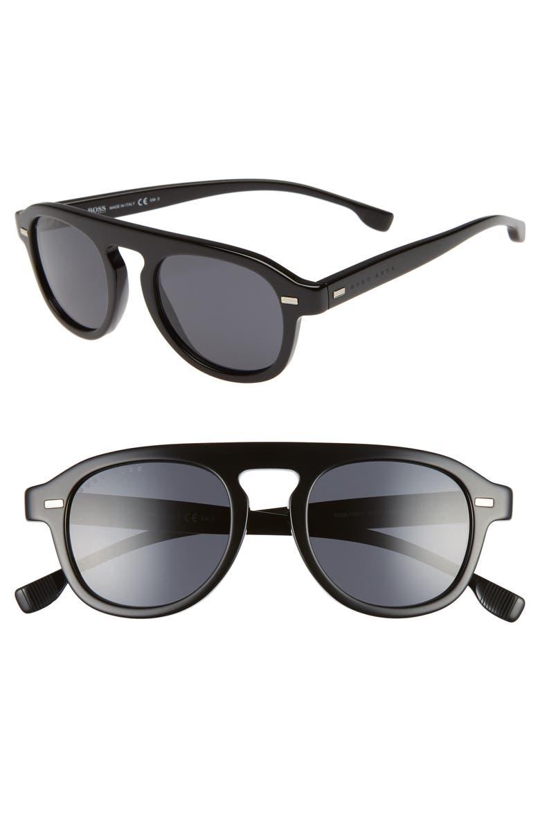 BOSS 49mm Polarized Sunglasses, Main, color, BLACK