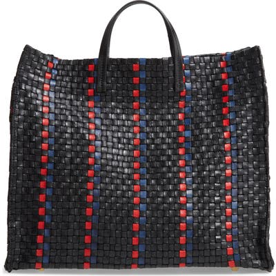 Clare V. Simple Woven Leather Tote - Black
