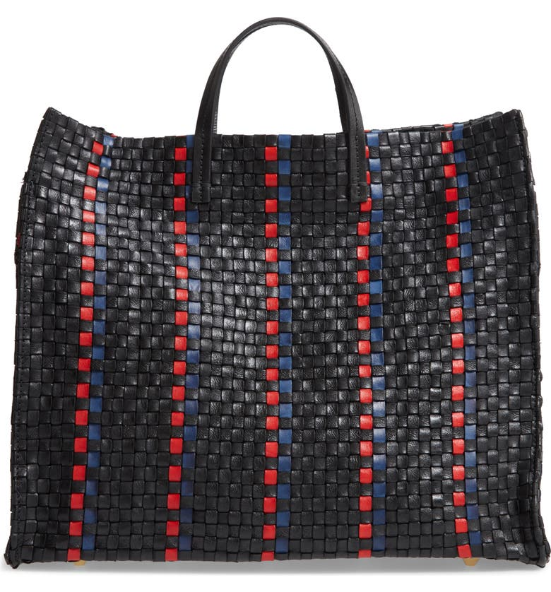 CLARE V. Simple Woven Leather Tote, Main, color, 001