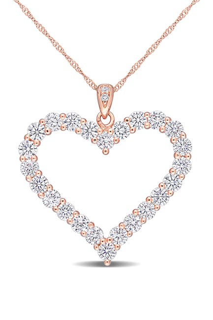 Image of Delmar Rose Gold Plated Sterling Silver Created Moissanite 2 2/5ctw Heart Pendant