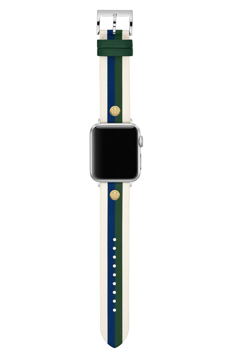 TORY BURCH Apple Watch<sup>®</sup> Stripe Leather Strap, Main, color, 100