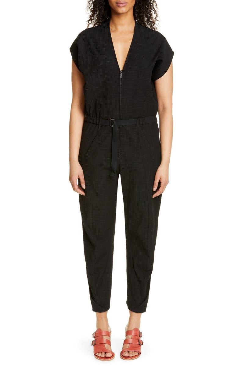 ZERO + MARIA CORNEJO Akeo Strap Crinkle Jumpsuit, Main, color, BLACK