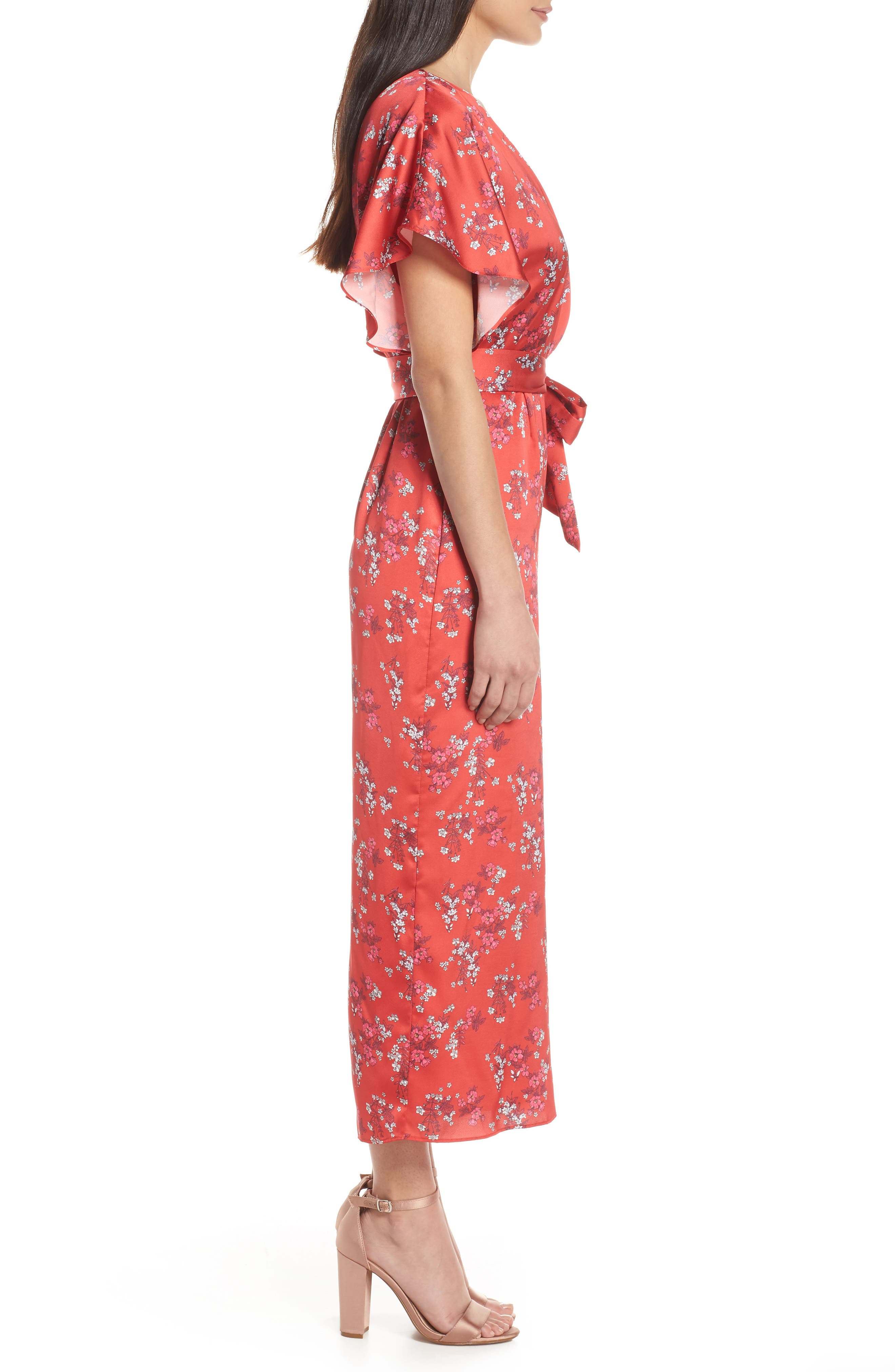 ,                             Stop Me Wrap Jumpsuit,                             Alternate thumbnail 4, color,                             SMALL RED FLORAL