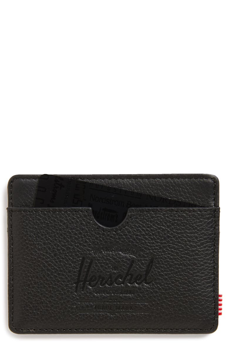 HERSCHEL SUPPLY CO. Charlie Leather Card Case, Main, color, 001
