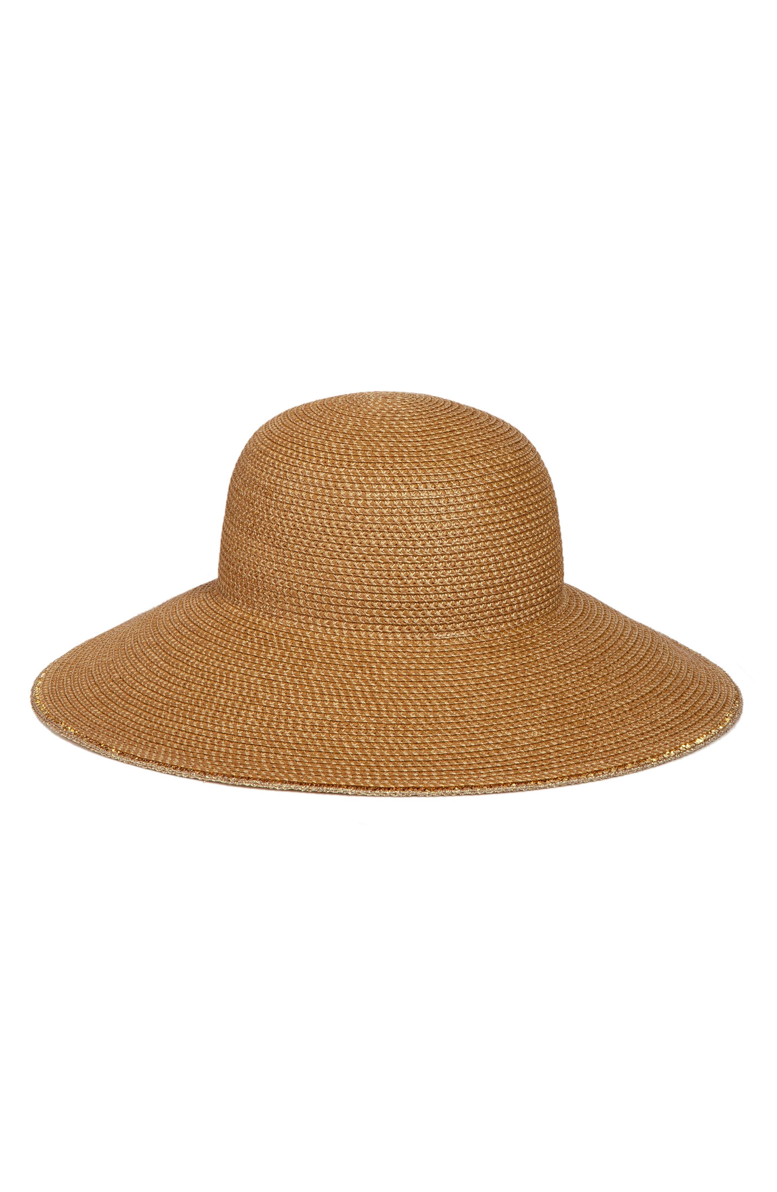 ,                             'Hampton' Straw Sun Hat,                             Main thumbnail 1, color,                             NATURAL/ GOLD