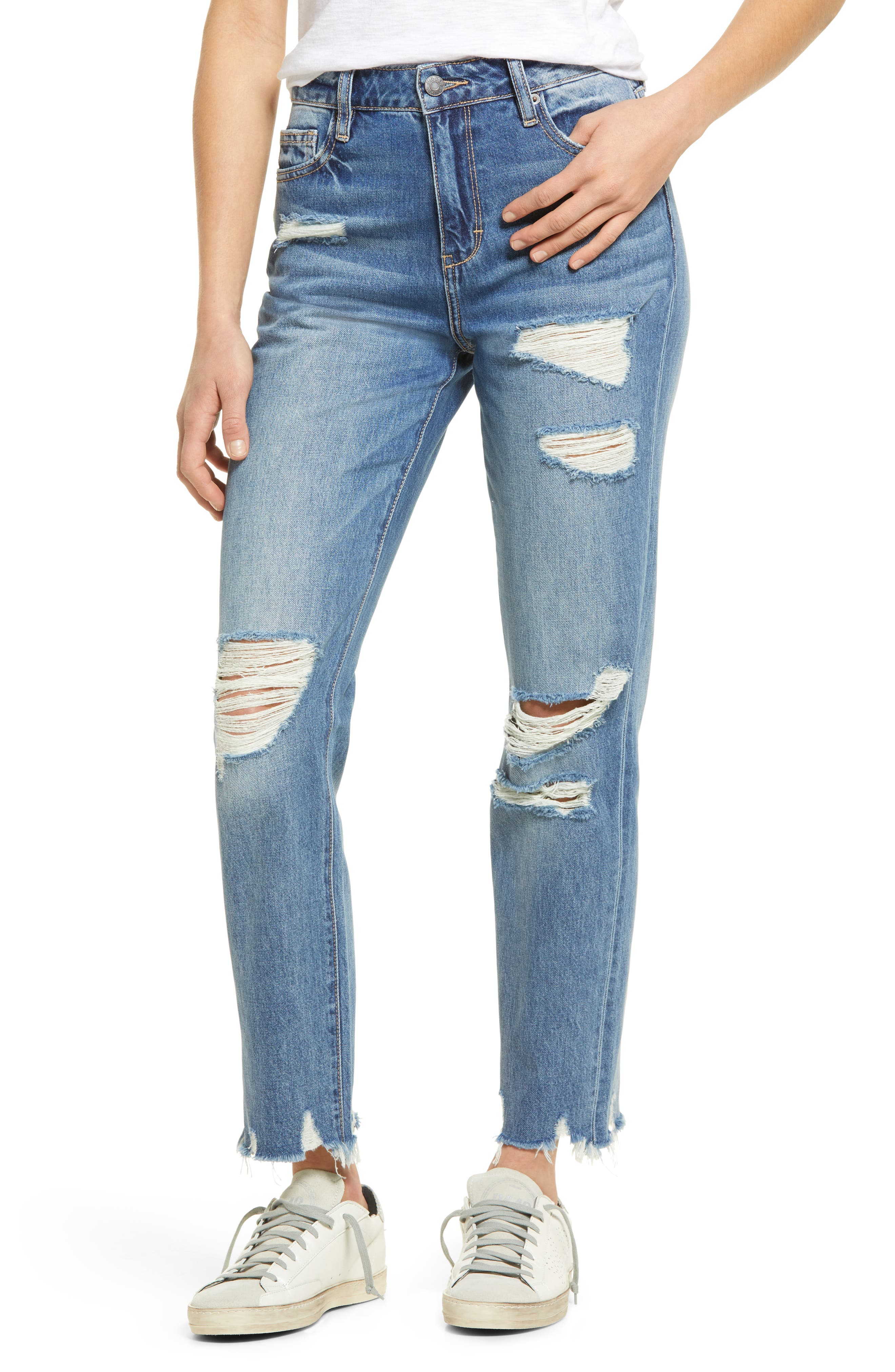 Ripped High Waist Ankle Straight Leg Jeans