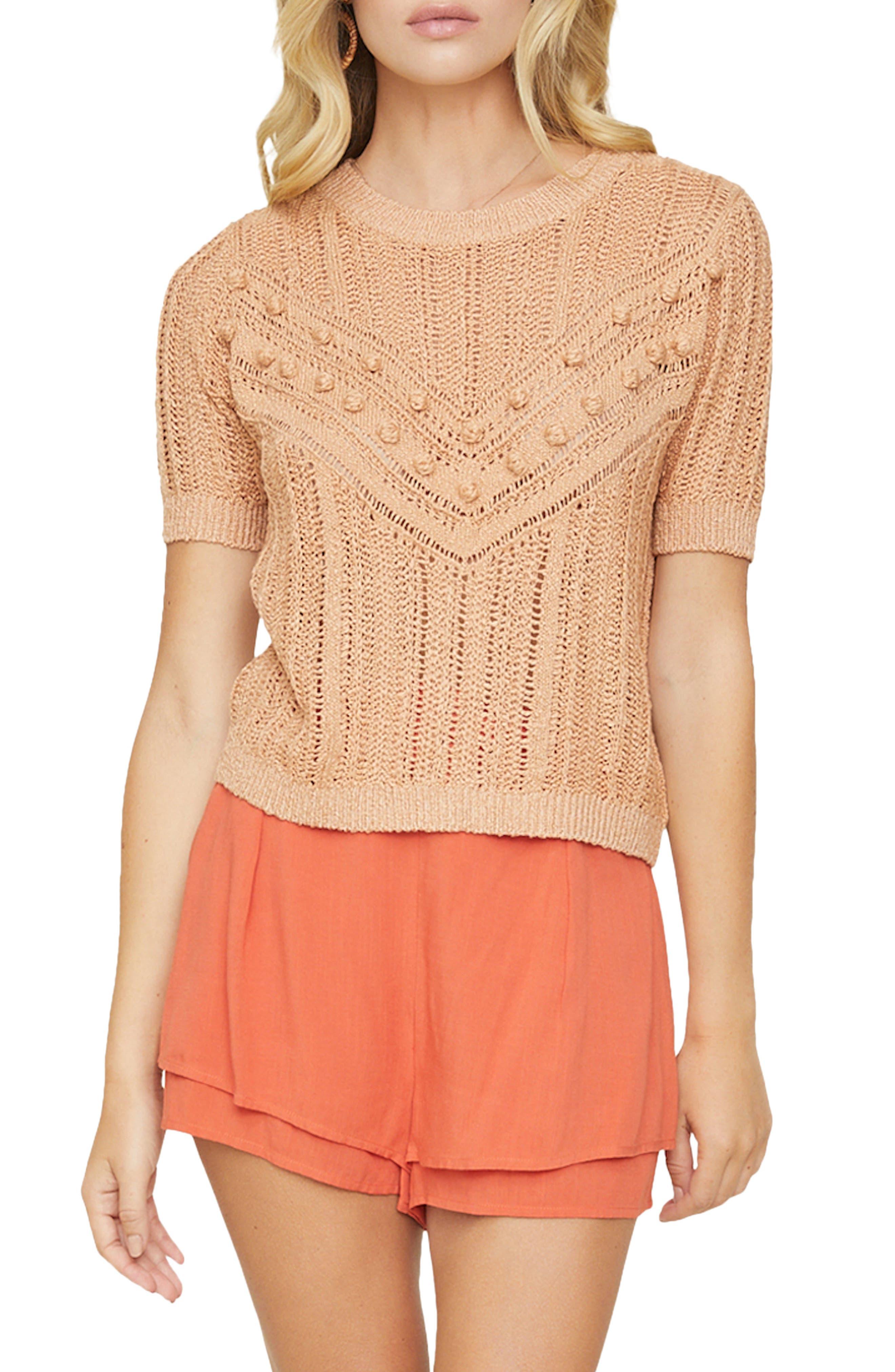 Women's Lost + Wander Blissful Days Bobble Knit Short Sleeve Sweater
