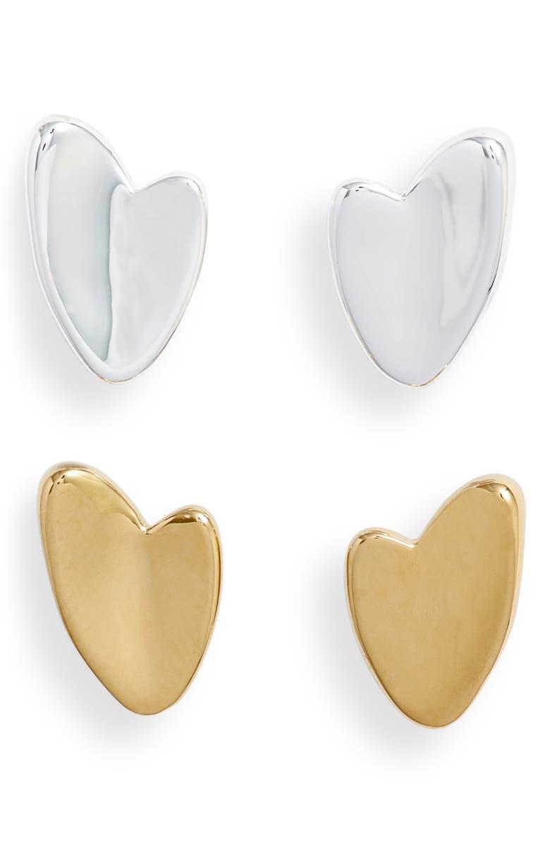 JENNY BIRD Helena Varuna Set of 2 Heart Stud Earrings, Main, color, 710