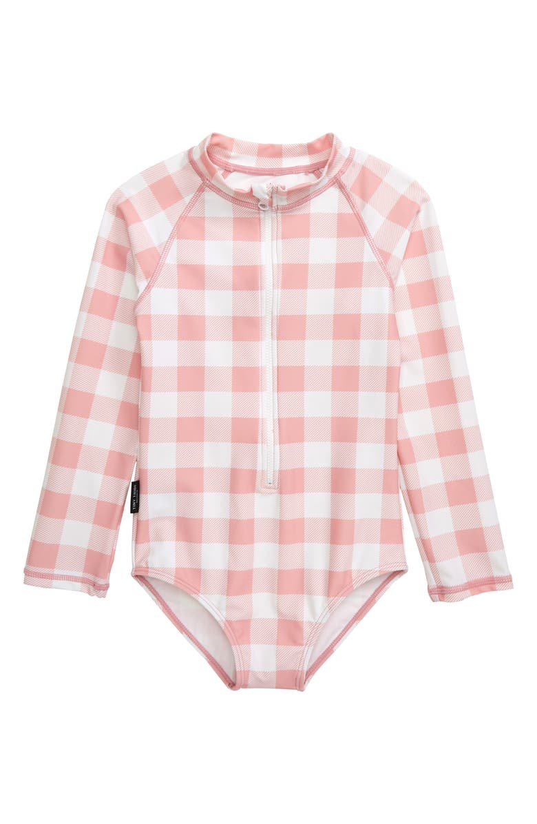 TINY TRIBE All In One-Piece Check Rashguard Swimsuit, Main, color, PINK