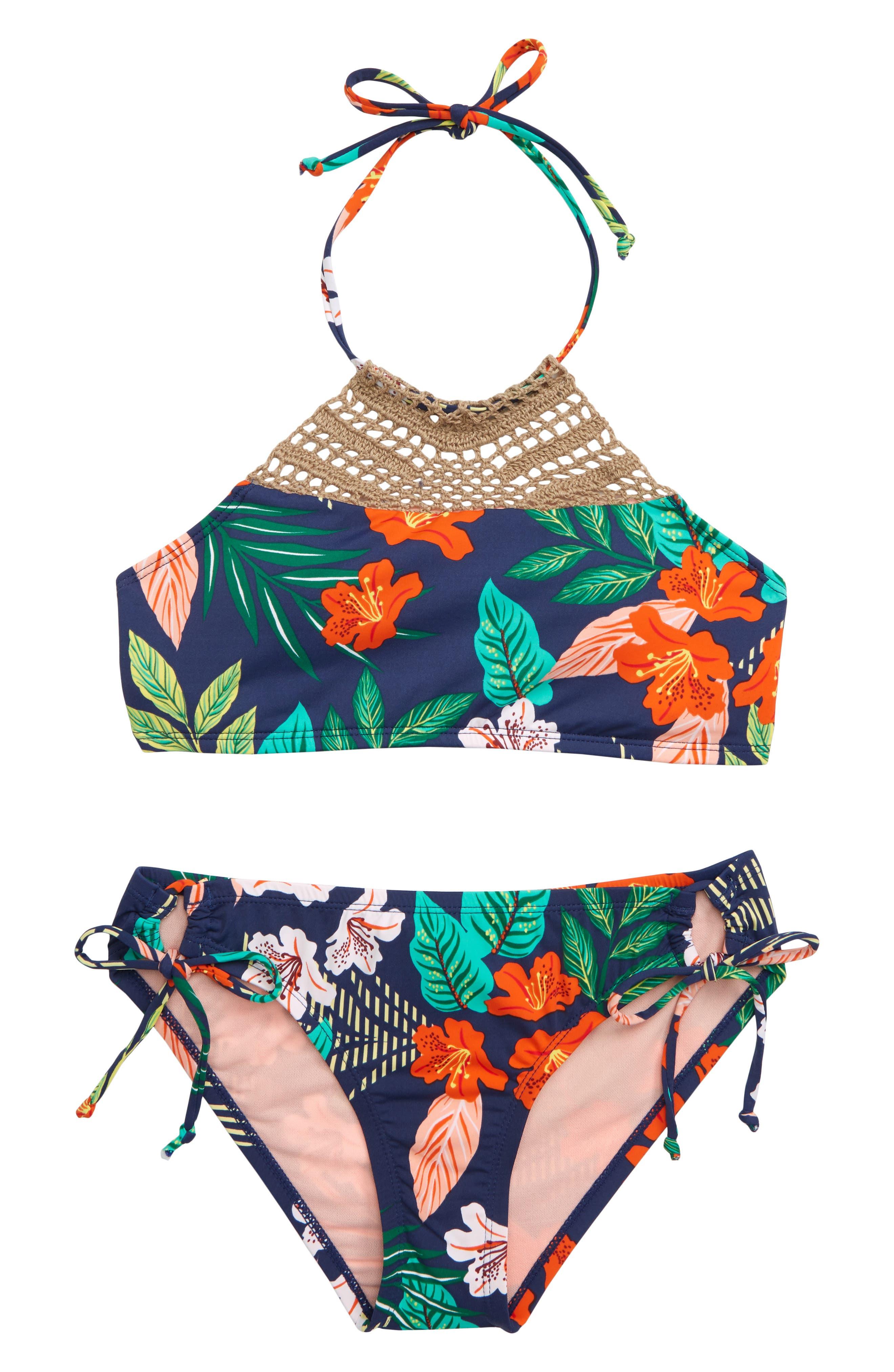 ,                             Hibiscus Jungle Two-Piece Swimsuit,                             Main thumbnail 1, color,                             MULTI