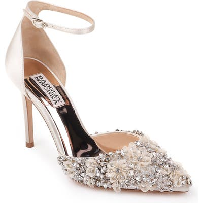 Badgley Mischka Fey Embellshed Ankle Strap Pump, Ivory