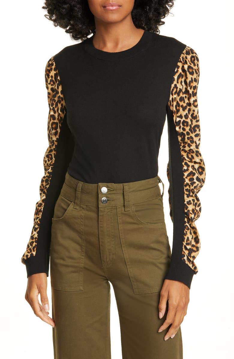 VERONICA BEARD Adler Mixed Media Sweater, Main, color, 001