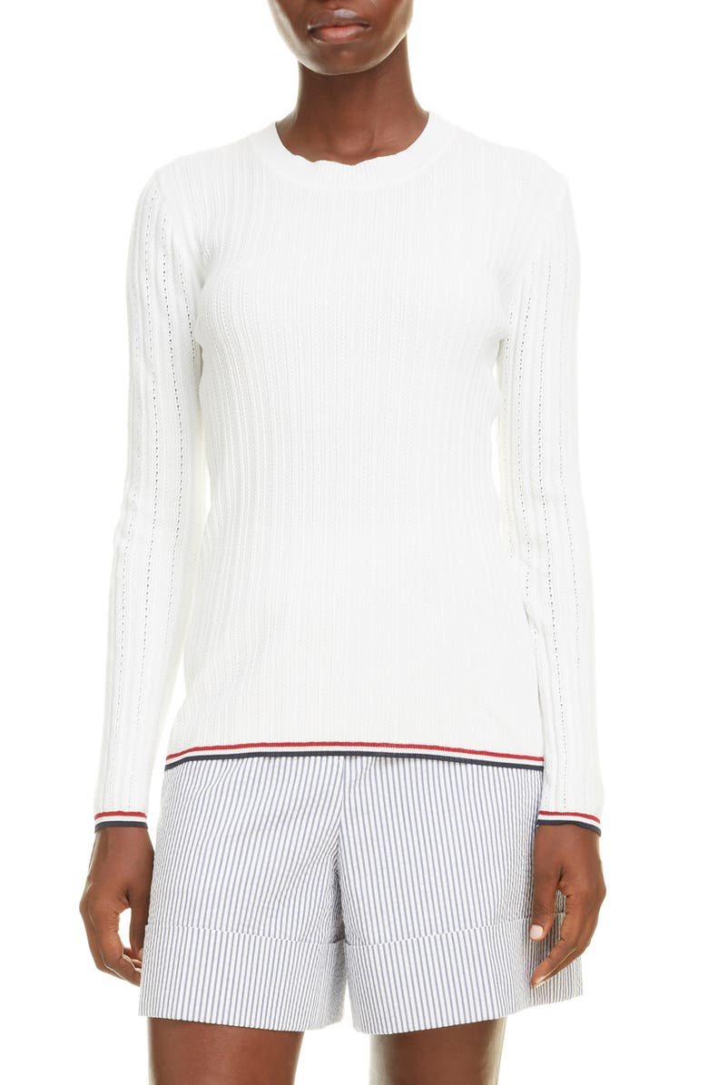THOM BROWNE Pointelle Rib Cotton Blend Sweater, Main, color, 100