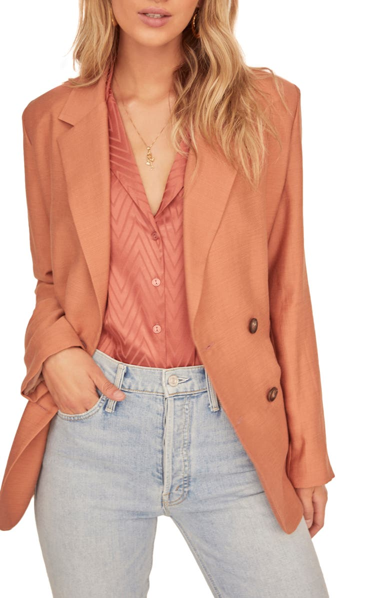 ASTR THE LABEL Allegra Double Breasted Blazer, Main, color, BAKED CLAY