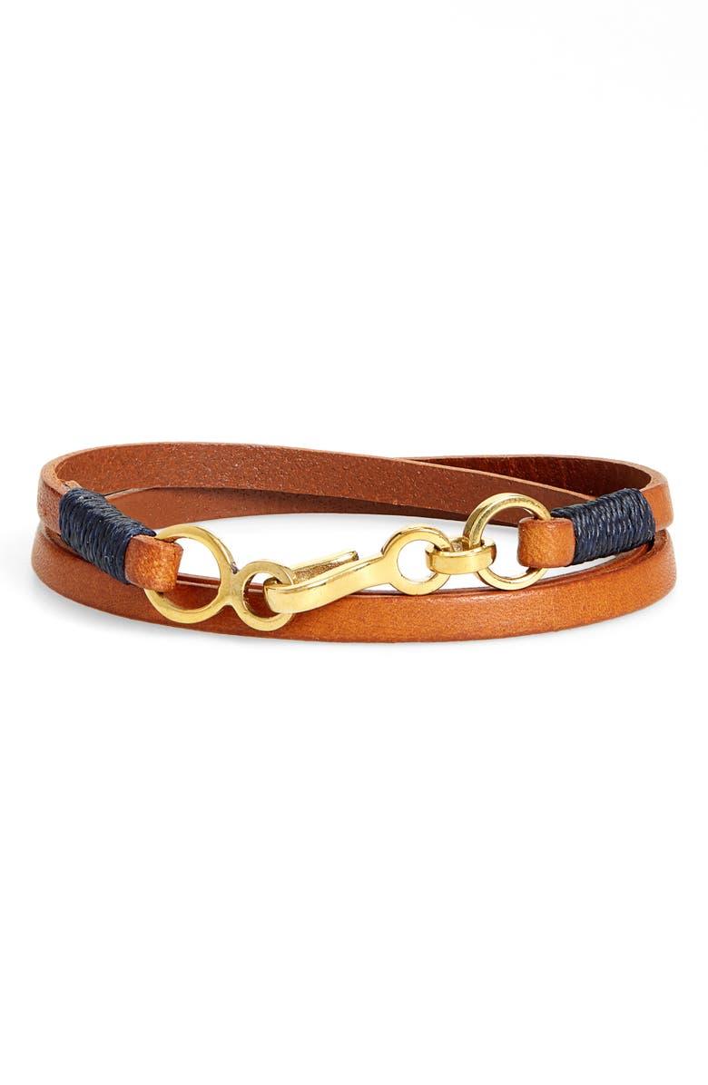 CAPUTO & CO. Leather Wrap Bracelet, Main, color, TAN