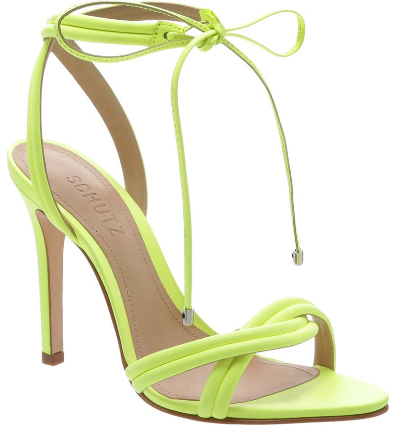 SCHUTZ Yvi Strappy Sandal, Main, color, NEON YELLOW NAPPA LEATHER