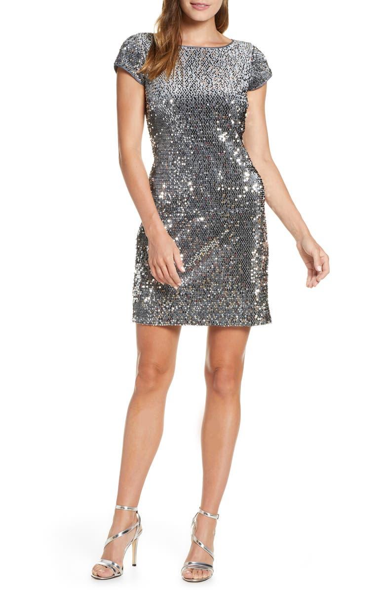 ELIZA J Sequin Velvet Sheath Dress, Main, color, SILVER