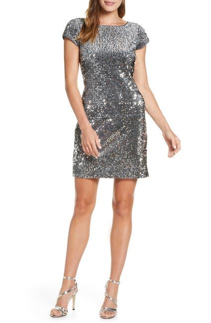 Image of Eliza J Sequin Velvet Sheath Dress