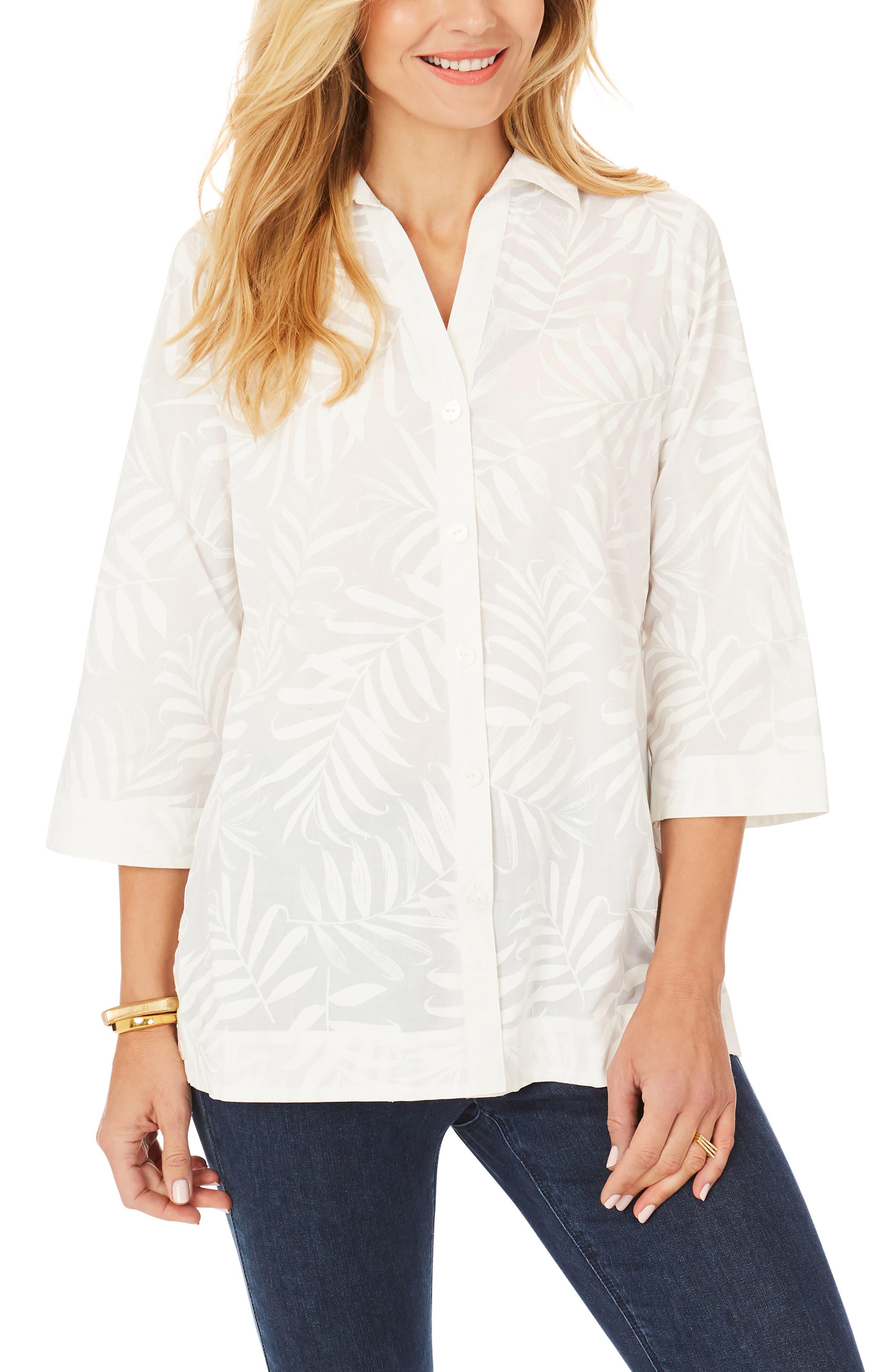 Liberty White Palms Cotton Blouse