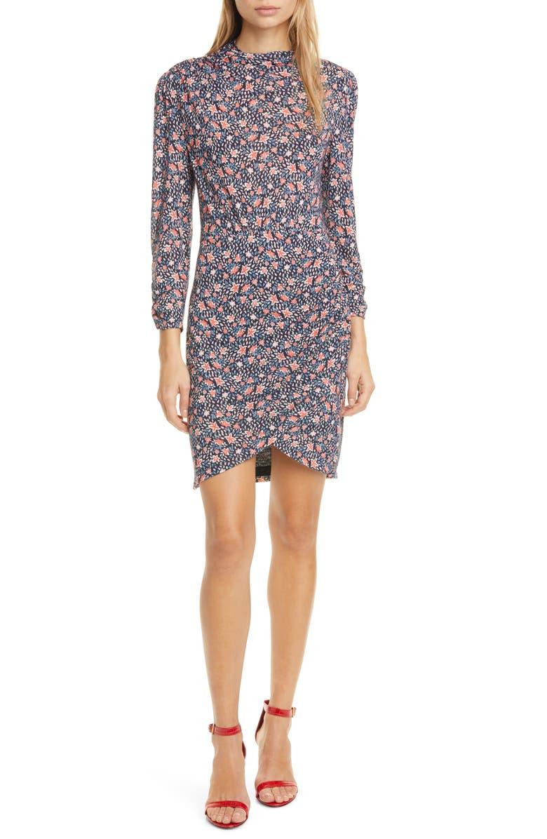 REBECCA TAYLOR Twilight Ditsy Floral Jersey Dress, Main, color, DARK NAVY COMBO