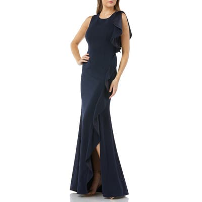 Carmen Marc Valvo Infusion Ruffle Gown