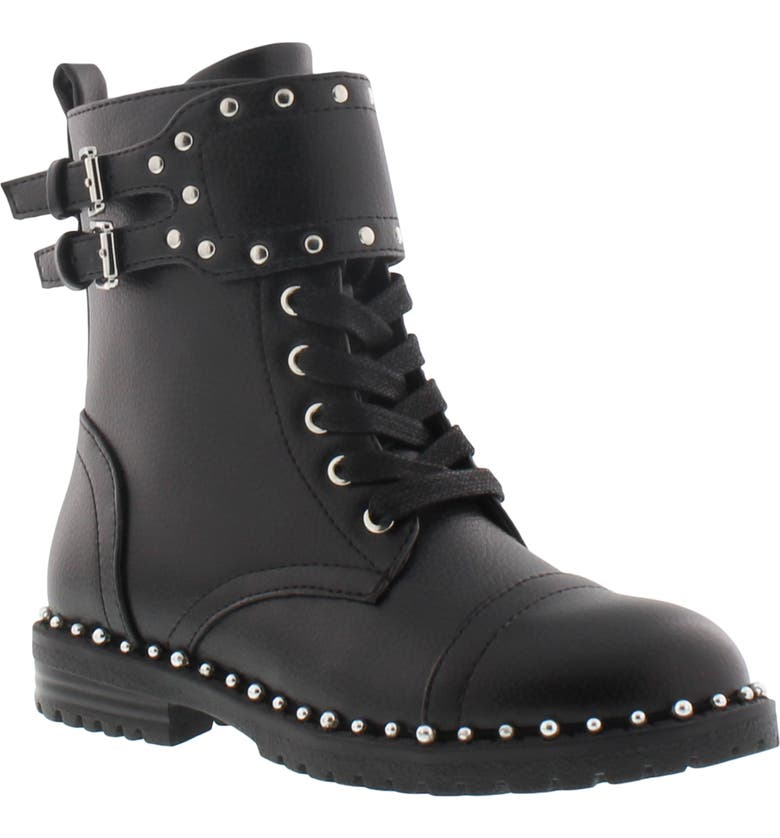SAM EDELMAN Polly Jennifer Studded Combat Boot, Main, color, BLACK