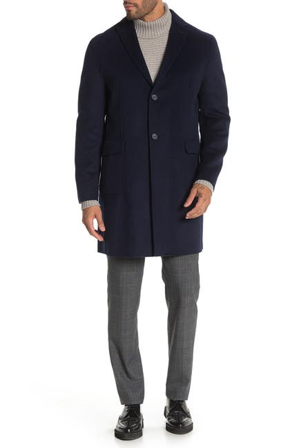 Image of DKNY Navy Solid Button Coat