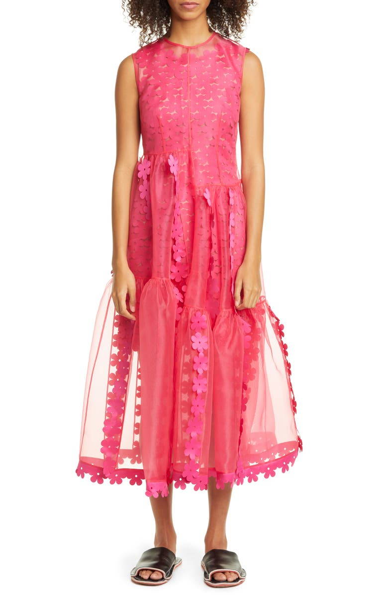 PASKAL Double Layer Cascade Organza Midi Dress, Main, color, FUSCHIA PINK