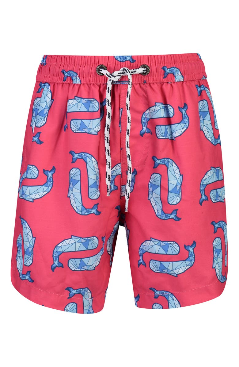 SNAPPER ROCK Geo Whales Swim Trunks, Main, color, RED DENIM