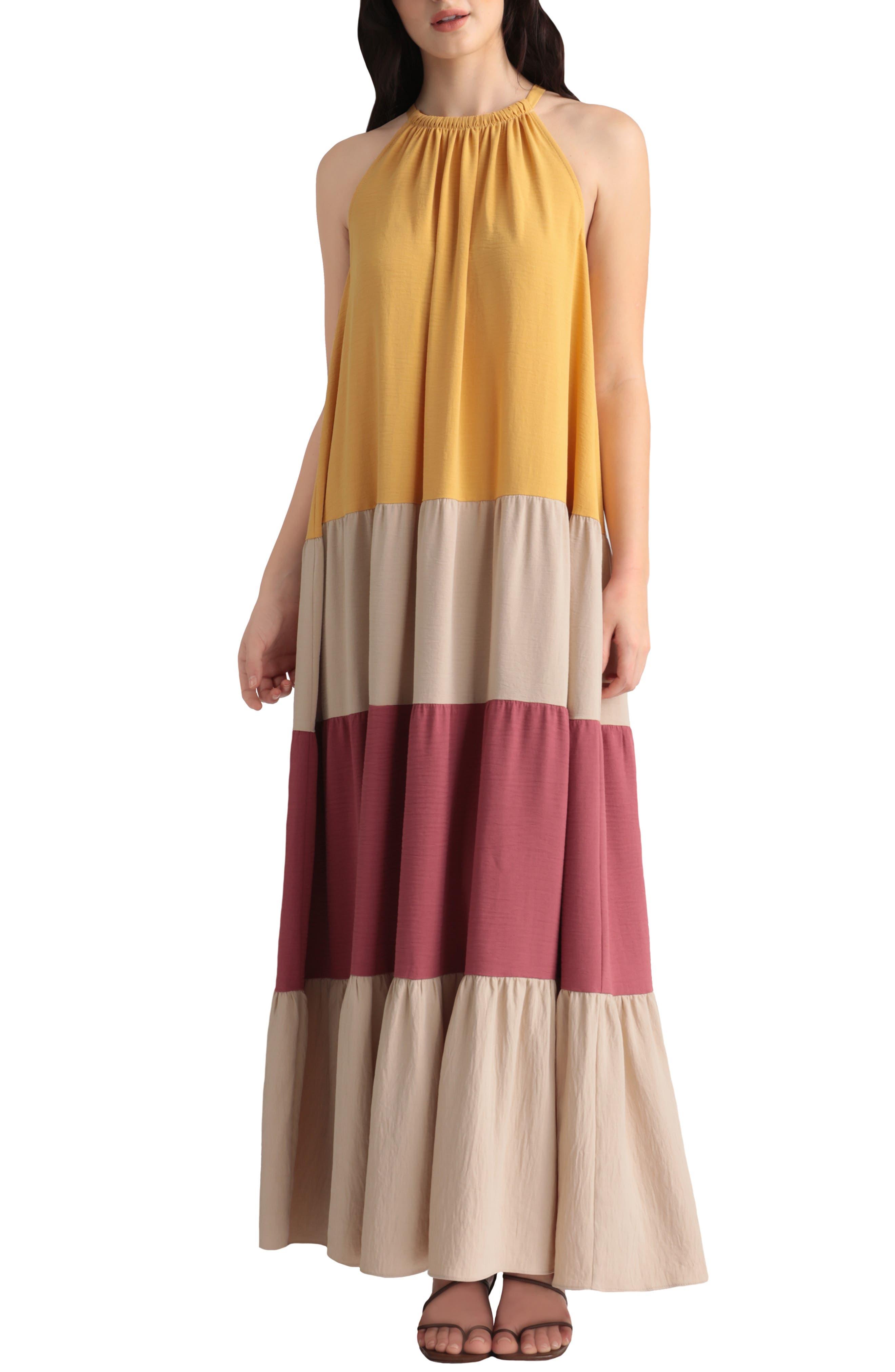 Colorblock Tiered Maxi Dress
