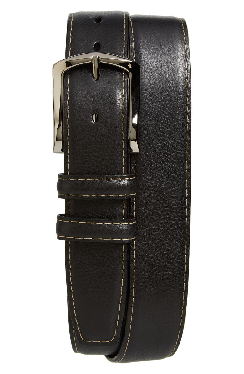 TORINO Belts Glazed Leather Belt, Main, color, BLACK