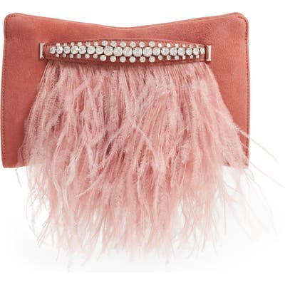 Jimmy Choo Feather Leather Clutch With Crystal Bracelet Handle - Pink