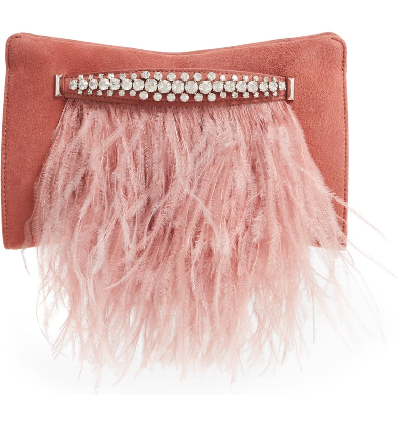 JIMMY CHOO Feather Leather Clutch with Crystal Bracelet Handle, Main, color, BLUSH