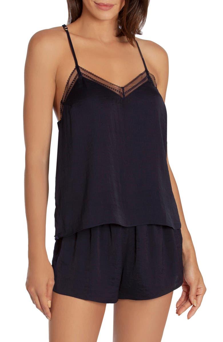 MIDNIGHT BAKERY Dusk Hammered Satin & Lace Short Pajamas, Main, color, NAVY