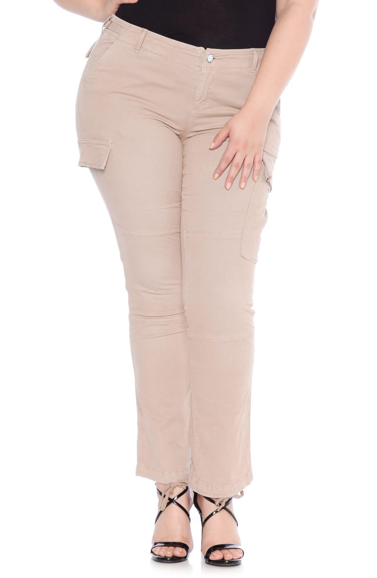 Plus Size Slink Jeans Twill Cargo Pants, Beige