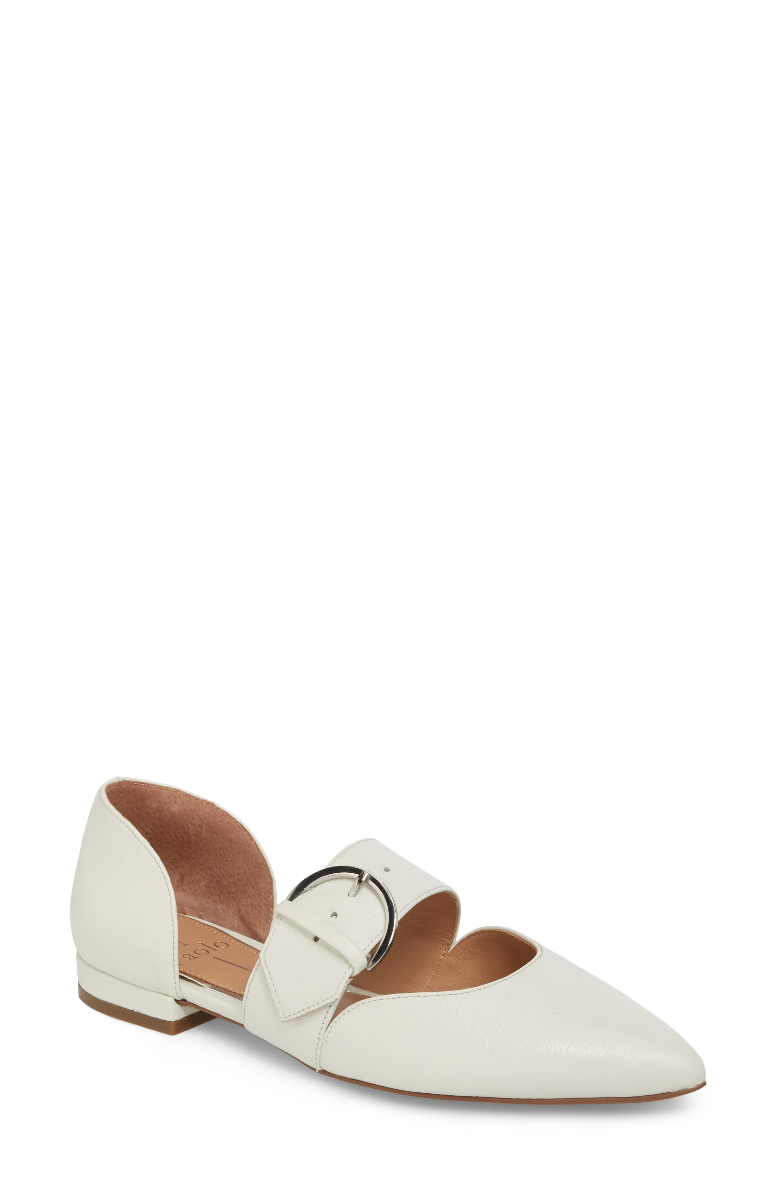 Linea Paolo Dean Pointy Toe Flat, White
