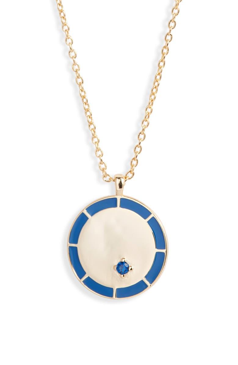 ARGENTO VIVO Enamel Medallion Pendant Necklace, Main, color, GOLD/ BLUE