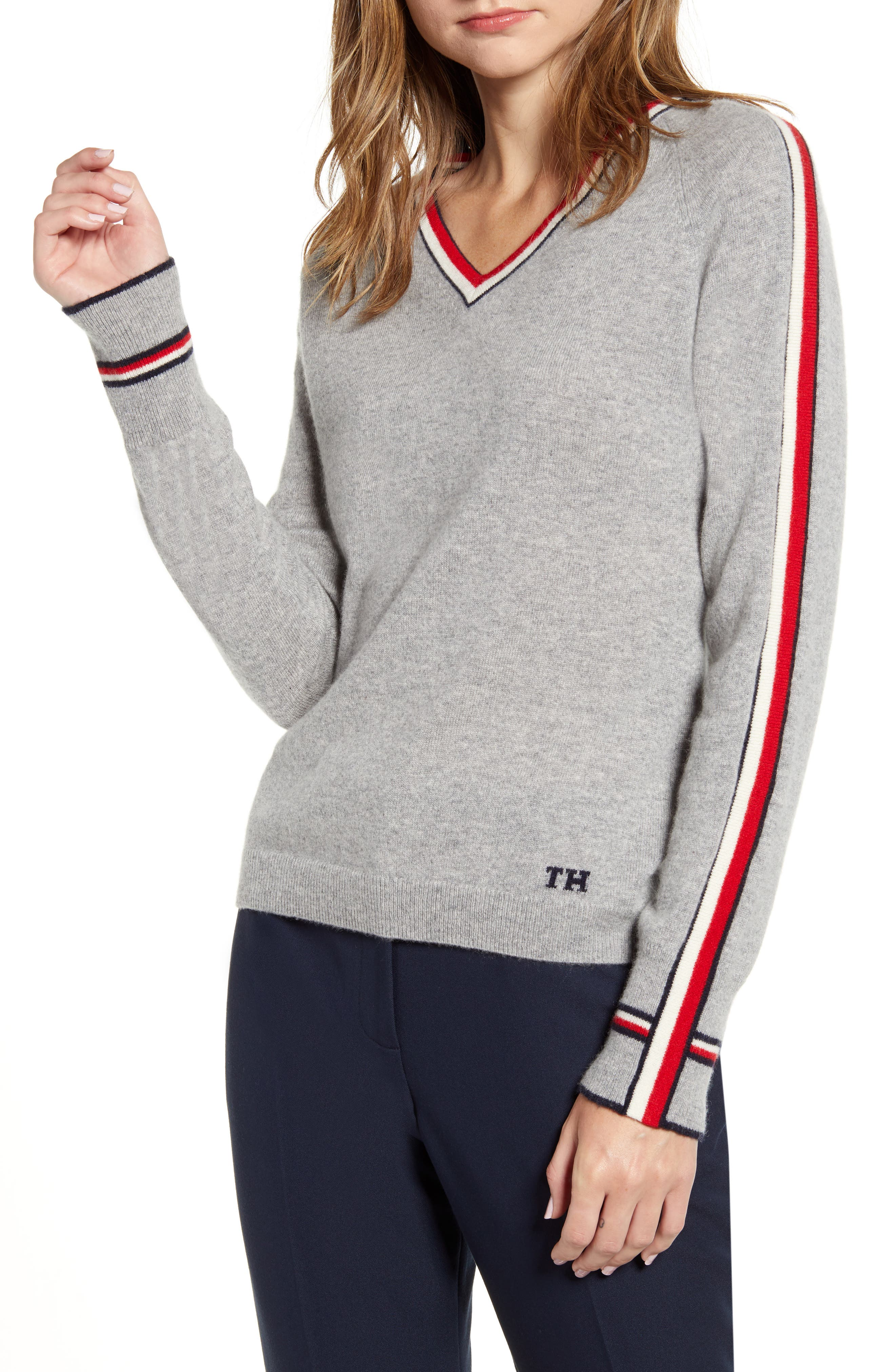Tommy Hilfiger Sweaters Stripe Detail V-Neck Sweater