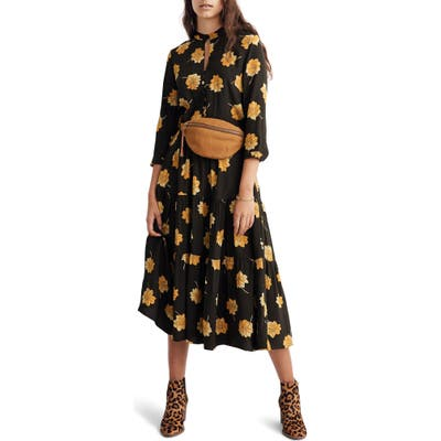Madewell Fall Floral Button Front Tier Dress, Black