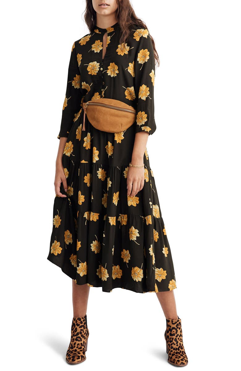 MADEWELL Fall Floral Button Front Tier Dress, Main, color, 001