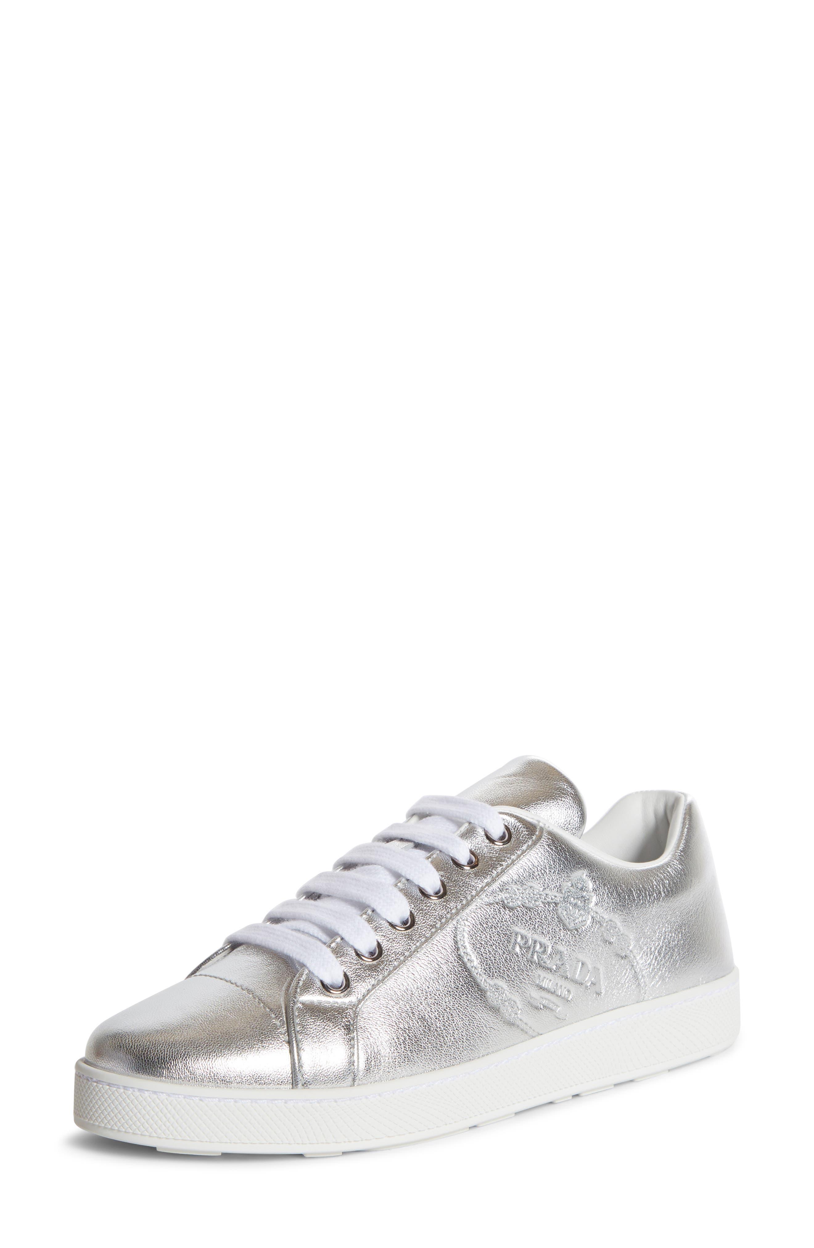 Prada Embossed Logo Metallic Sneaker
