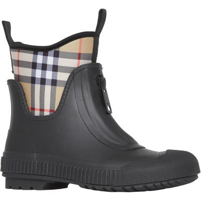 Burberry Flinton Check Waterproof Rain Boot, Black