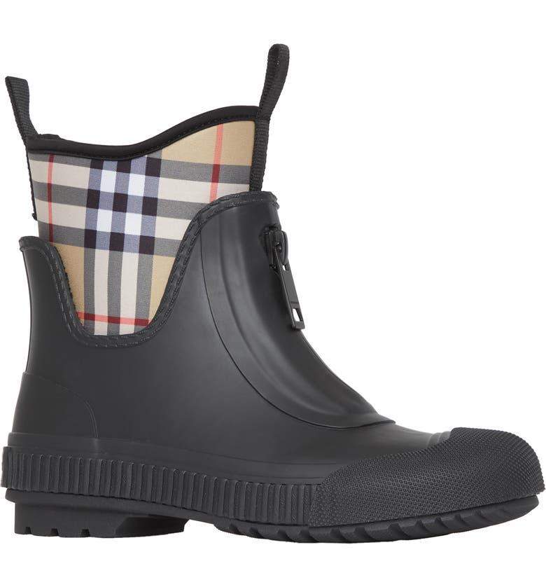 BURBERRY Flinton Check Waterproof Rain Boot, Main, color, BLACK