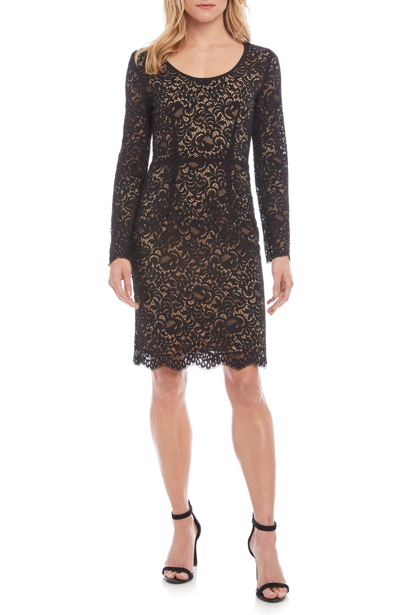 KAREN KANE London Long Sleeve Lace Cocktail Dress, Main, color, BROWN