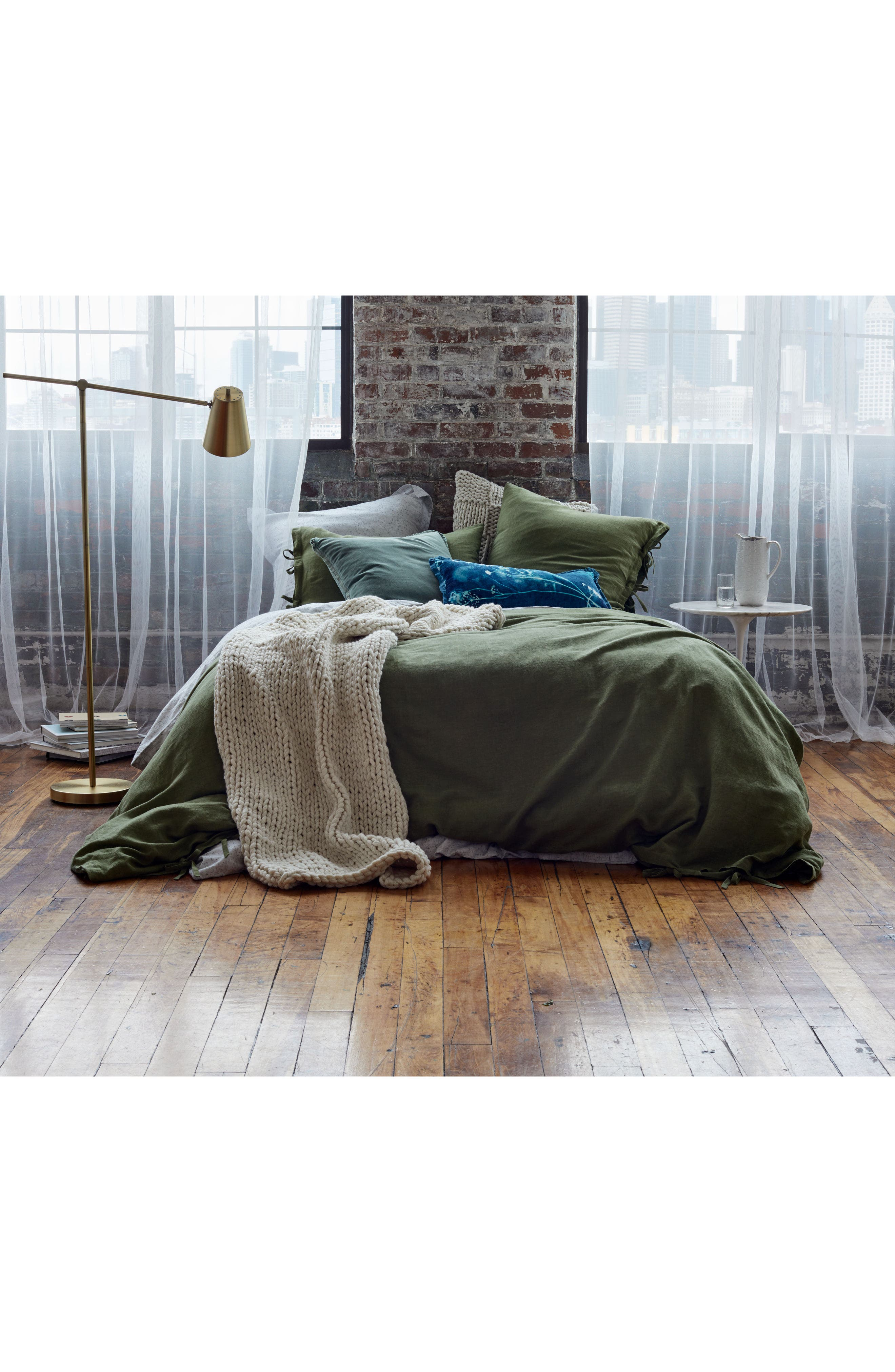 ,                             Relaxed Cotton & Linen Euro Sham,                             Alternate thumbnail 8, color,                             GREY ONYX