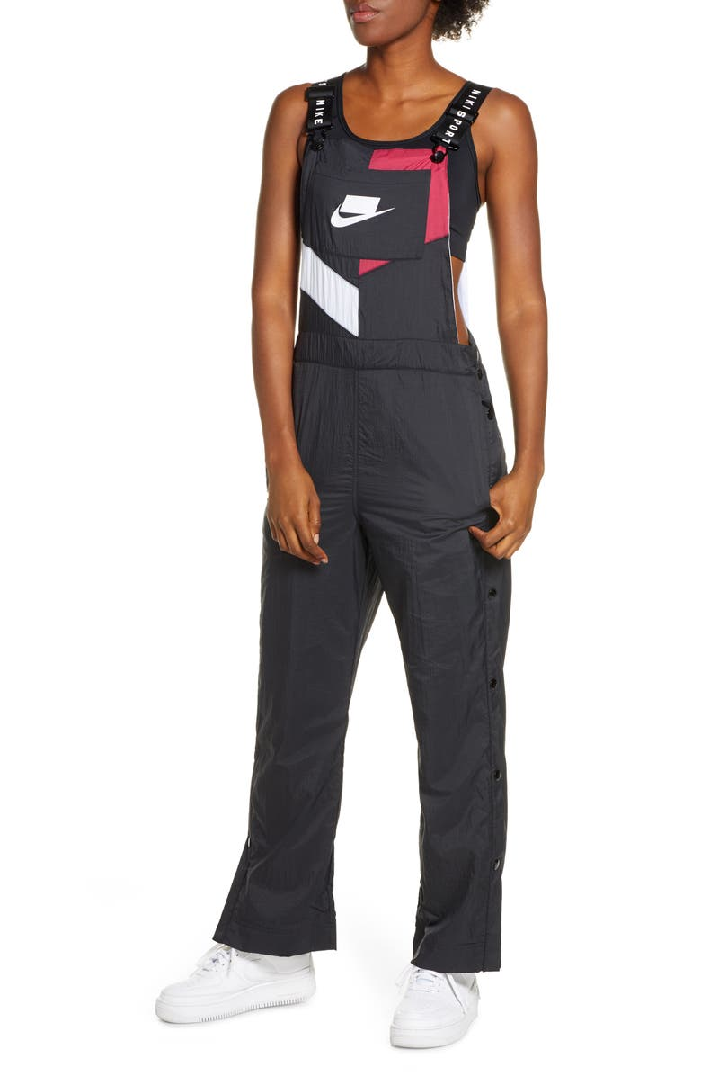 NIKE Woven Overalls, Main, color, BLACK/ NOBLE RED/ WHITE/ WHITE