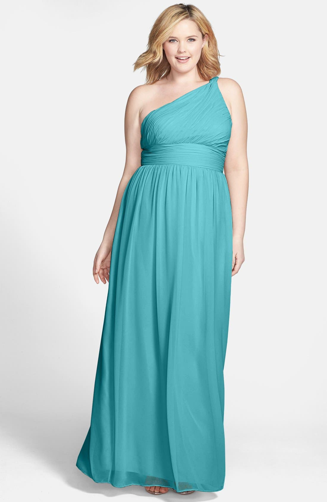 ,                             'Rachel' Ruched One-Shoulder Chiffon Gown,                             Alternate thumbnail 73, color,                             440