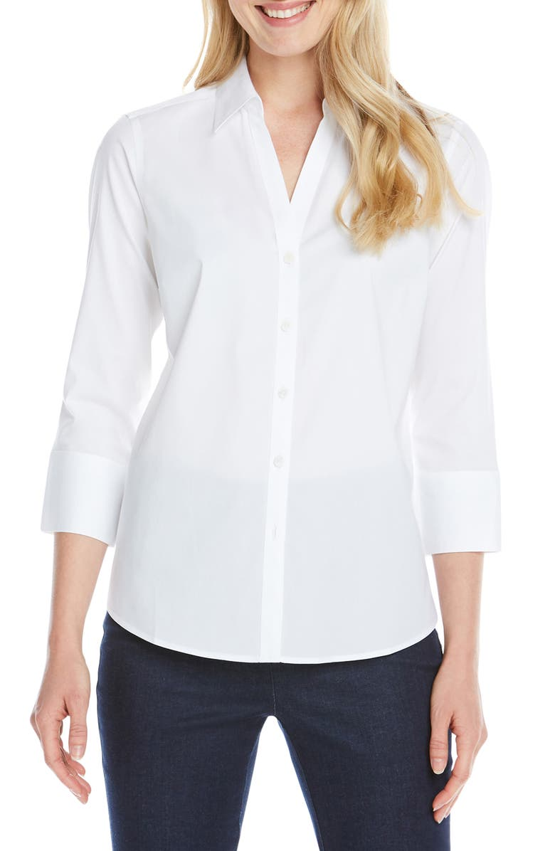 FOXCROFT Mary Button-Up Blouse, Main, color, WHITE