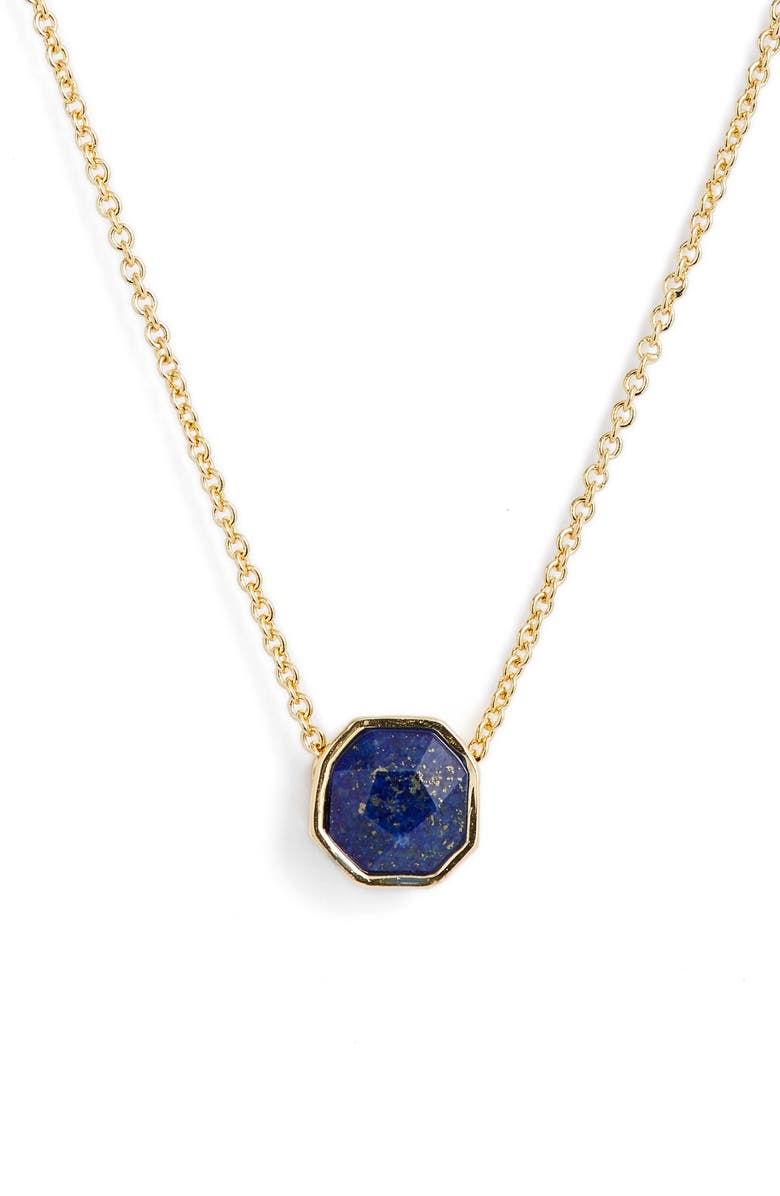 GORJANA Power Gemstone Charm Adjustable Necklace, Main, color, WISDOM/ LAPIS/ GOLD